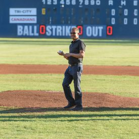 Mo Shariff Throws First Pitch